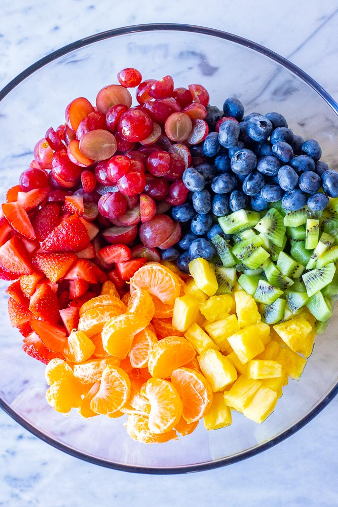 All the rainbow fruit together in a bowl for the fruit salad recipe
