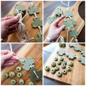 String shapes to create the shamrock wall hanging.