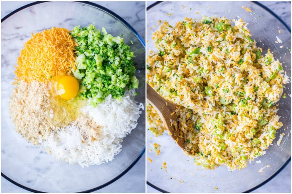 Showing how to make these cheesy broccoli rice casserole bites