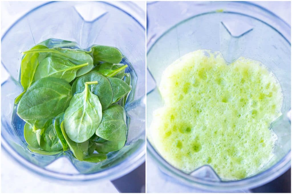 Showing how to make leprechaun lemonade by blending up spinach and water