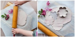 Roll out clay and cut shapes with cookie cutters.