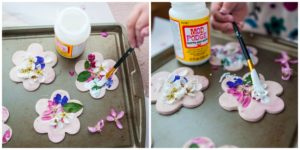 Seal decorated clay shapes with Mod Podge.