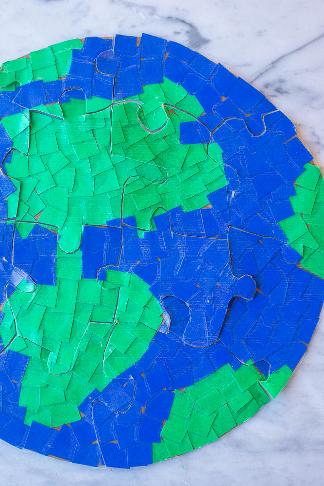 Close up of an earth puzzle
