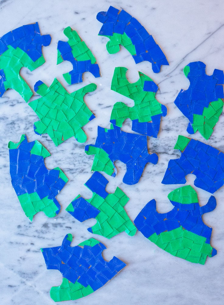 Separate earth puzzle pieces