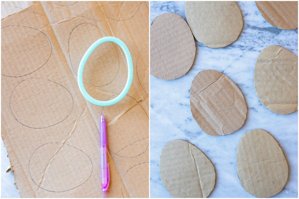 Showing how to make Nature Easter eggs with cardboard