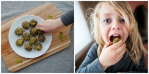 Child eating Mud-n-Moss Energy Balls.