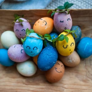Completed naturally dyed Easter eggs.