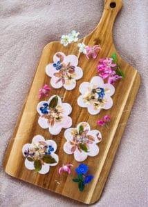 Clay Flower Cookies on display.