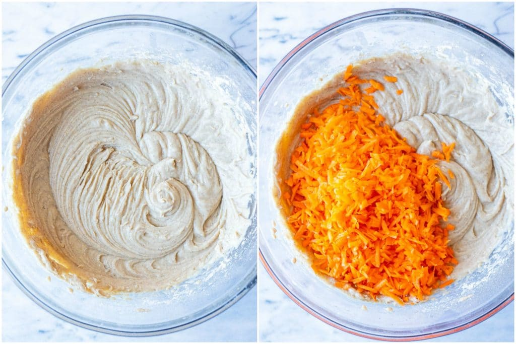 Showing how to make carrot cake muffins wit the batter in a bowl