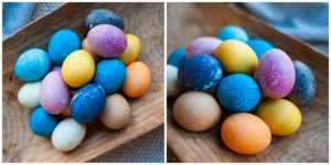 Naturally dyed Easter eggs.