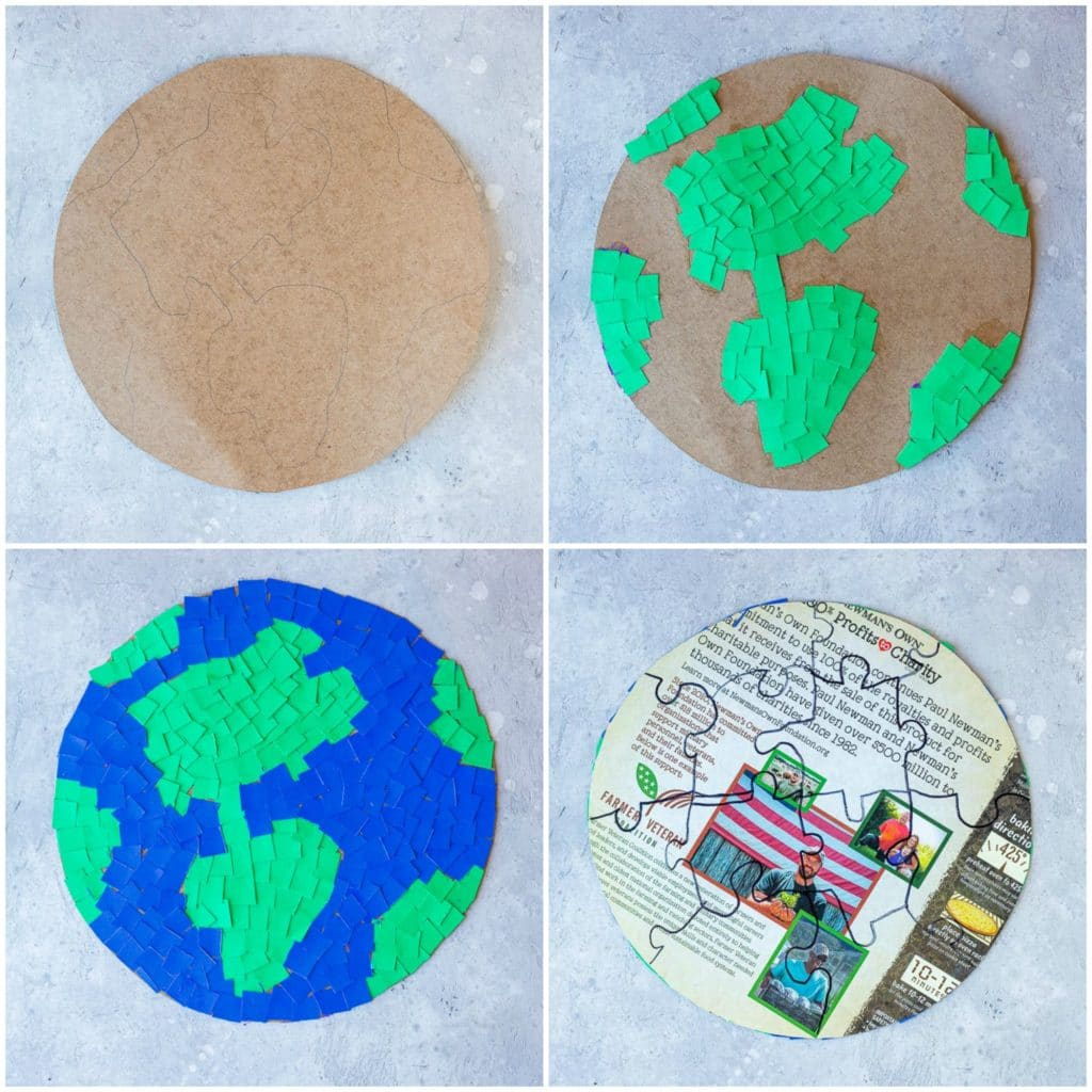 Step by step photos showing how to put an earth puzzle together