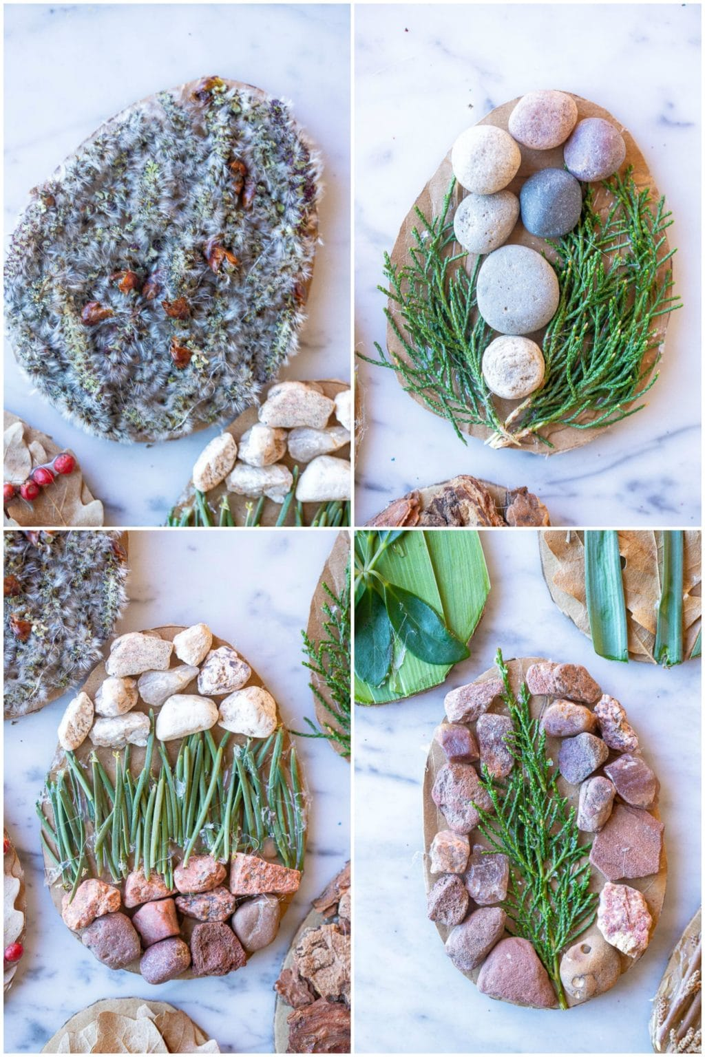 4 different nature Easter egg decorating ideas