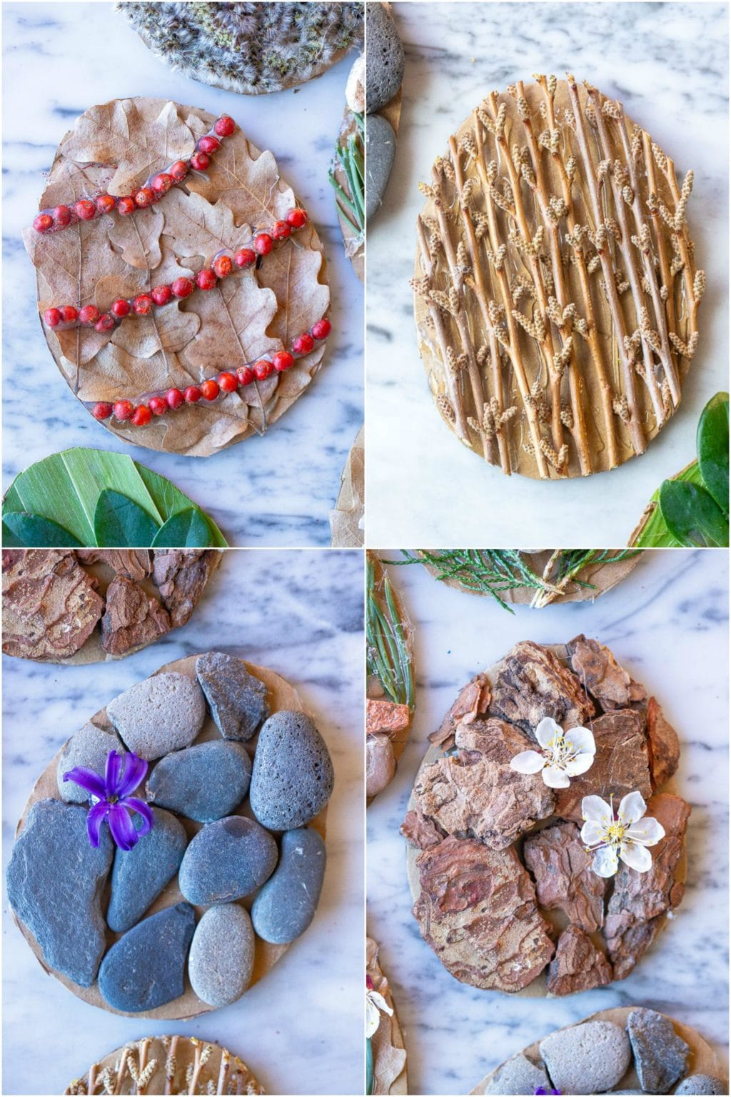 four different nature Easter egg ideas