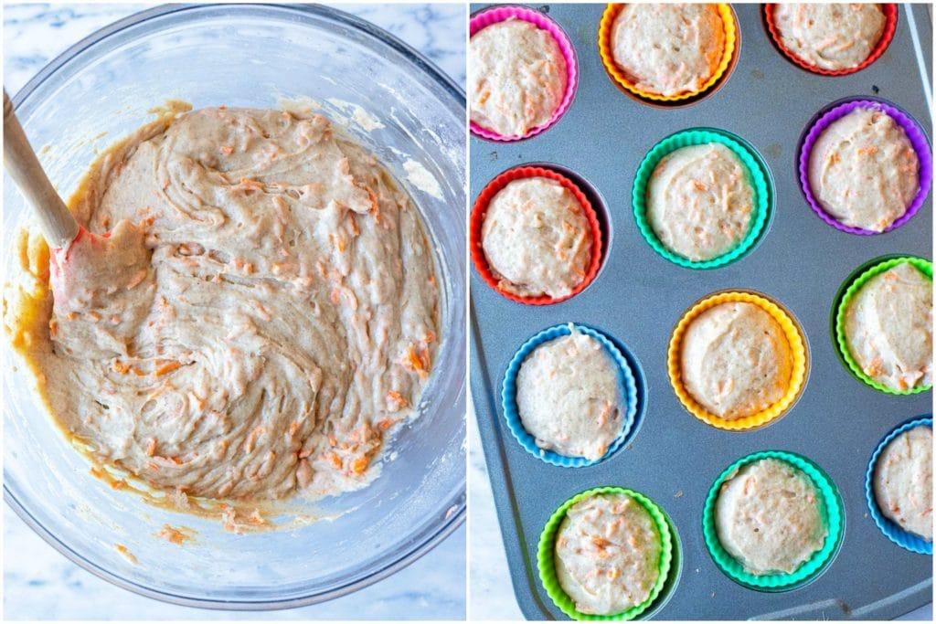 Carrot cake muffin recipe chopped into a muffin tin