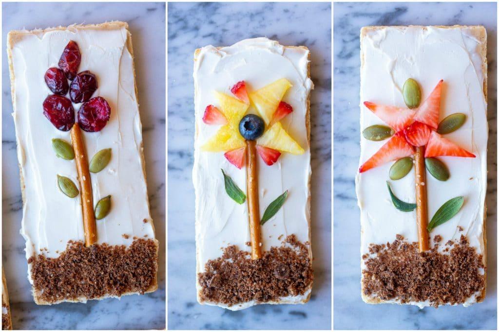 Close up of flower garden graham crackers