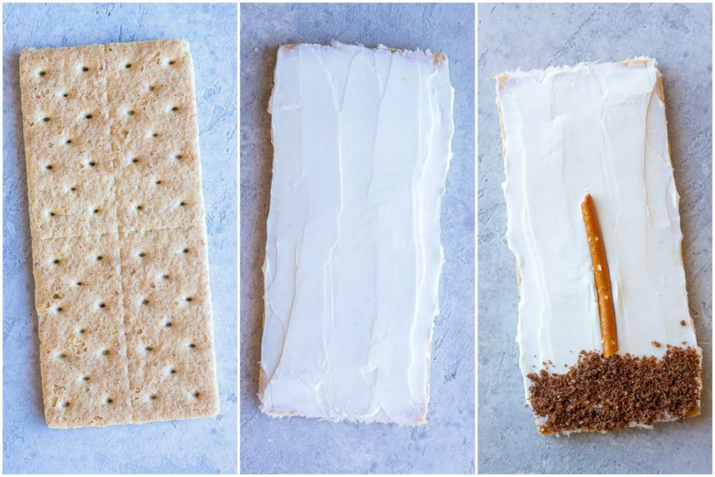 Showing how to make flower garden graham crackers in three easy steps