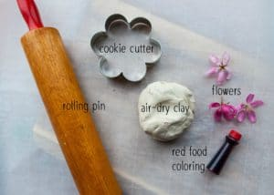 Materials needed to make Clay Flower Cookies.