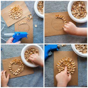 Glueing pistachio shells into a circular pattern to create a dahlia.