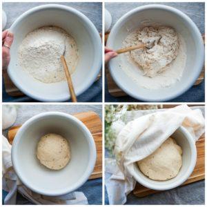 Steps to prepare bread dough.