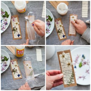 Glue and seal materials to bookmarks.