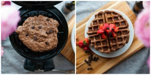 Cook waffles in a hot waffle iron.