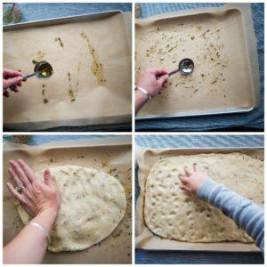 Spreading bread dough into pan.