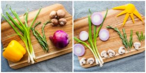 "Designing the ""garden"" with fresh veggies."