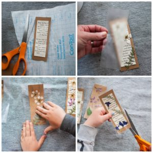 Adhere contact paper to bookmarks.