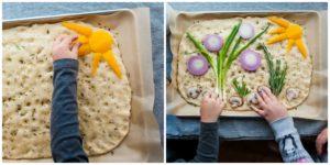 Children decorating the garden focaccia.