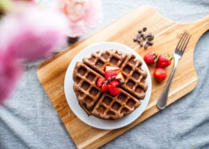 Plate of healthy chocolate waffles.