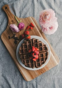 A plate of Healthy Chocolate Waffles.