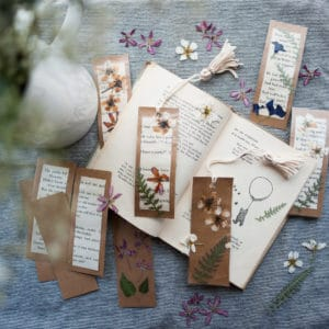 Completed nature bookmarks.
