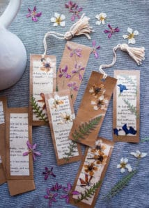 Handmade bookmarks decorated with pressed flowers.