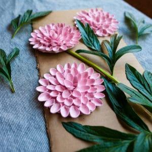 Dahlias made with pistachio shells.