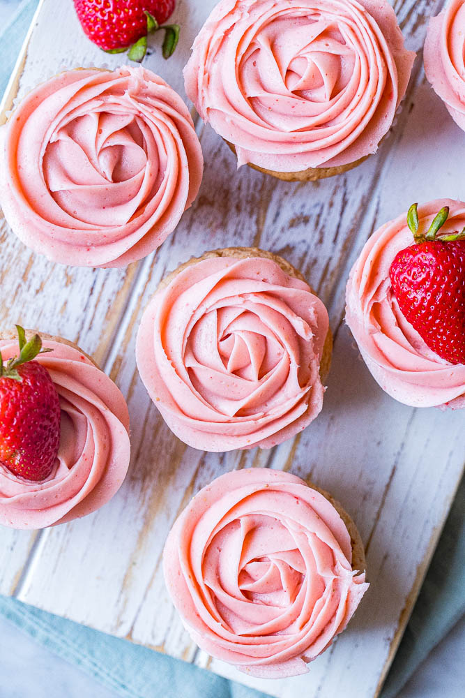 Plate of strawberry cupcakes