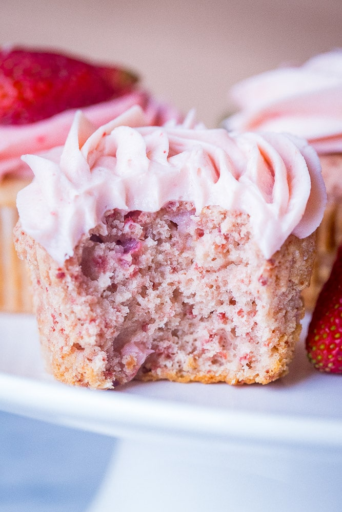 Strawberry Cupcake with a bite taken out of it
