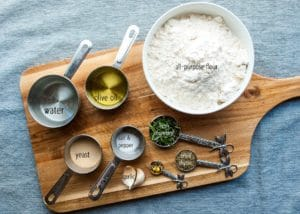 Ingredients for focaccia.