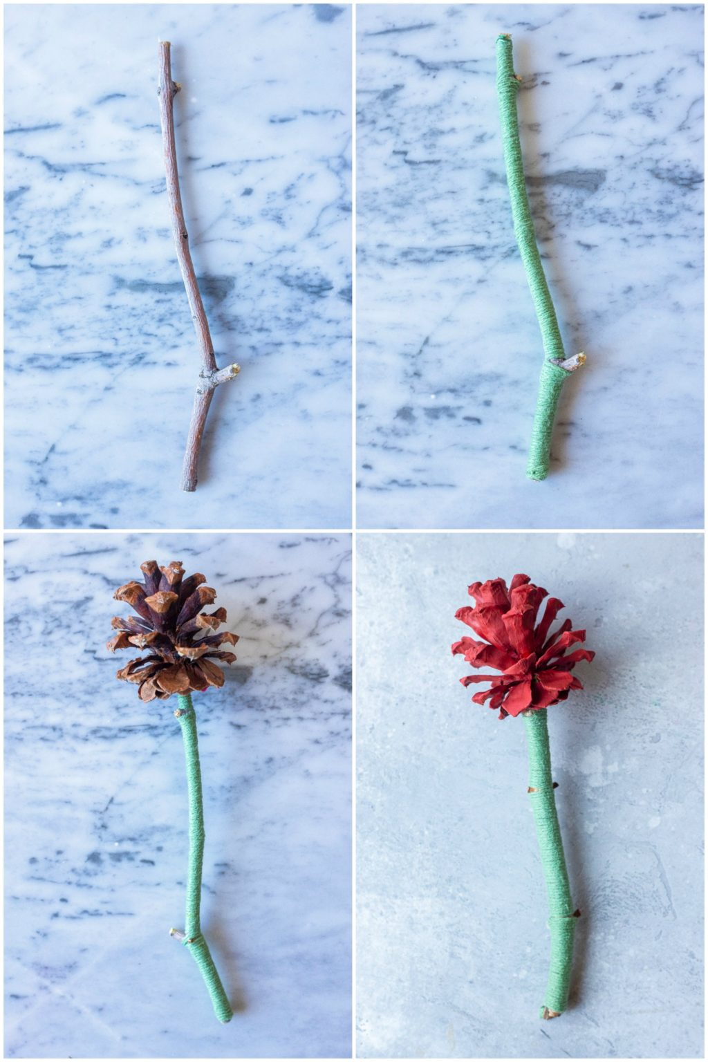 Showing how to make pinecone flower in four easy steps