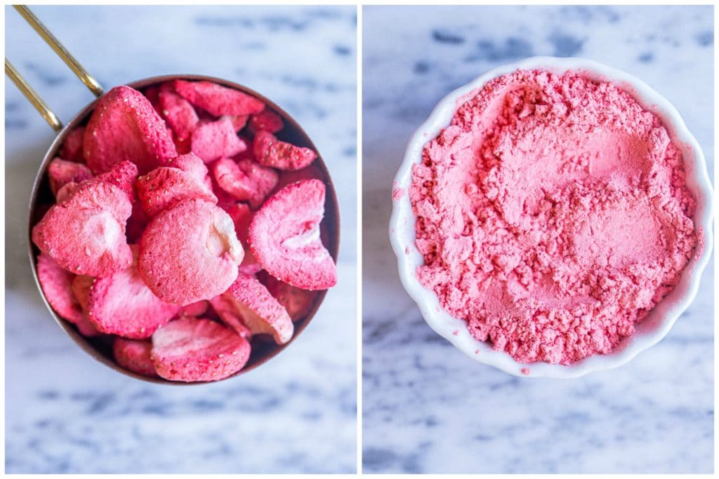 freeze-dried strawberries before and after being blended up