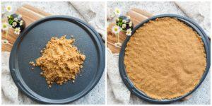 Making graham cracker crust for Rainbow Dessert Pizza.