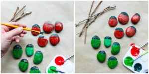 Paint rocks to create bugs.