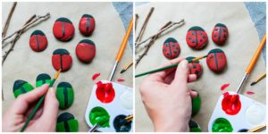 Paint lines and spots to create rock bugs.