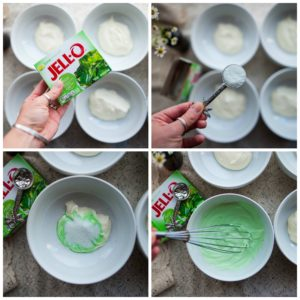 How to add jello mix to cream cheese sauce.