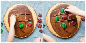 Kids playing with tic-tac-toe bugs.