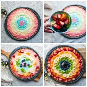 Adding fruit topping to Rainbow Dessert Pizza.