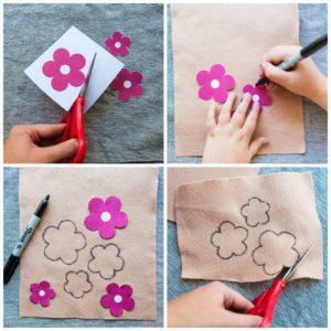 Using a flower template cut out felt flower petals.