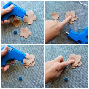 Glueing the felt flower pieces together.