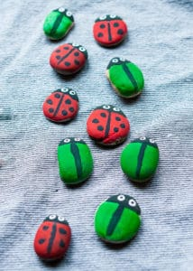 Completed stone bugs for a tic-tac-toe game.