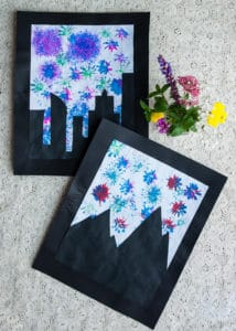 Fireworks art made with flowers and paint.