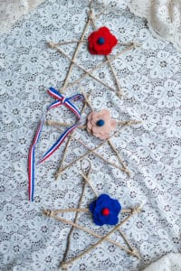 Red, white, and blue twig stars.